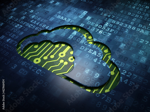 Cloud technology concept: Cloud on digital screen background