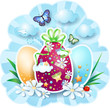 Easter background with eggs and butterflies