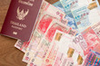 Thailand passport with hongkong currency