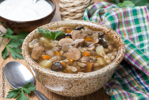 mushroom soup with pearl barley in a bowl
