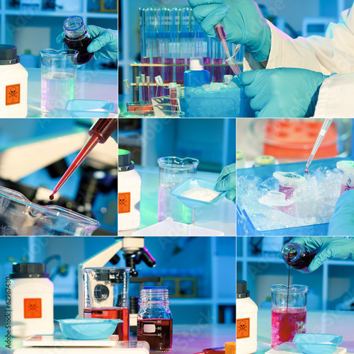 researchers work in modern scientific lab, collage. Preparation