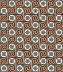 Seamless ethnic art geometric pattern background retro colors