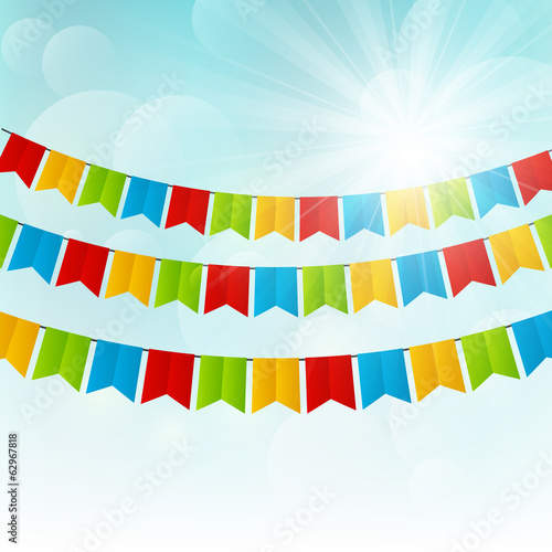 Color flags on sunny background