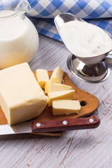 Dairy products - butter, sour cream, milk