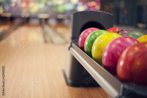 Close up of bowling balls