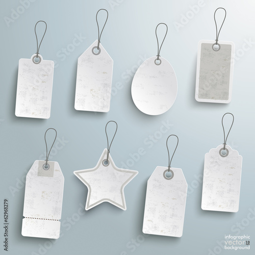 White Price Sticker Set Silver Background