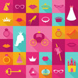 Priness Flat Icons Set - crown, lips, rings, hats - in vector