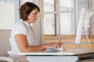 Young businesswoman using computer at office desk