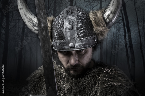 Sword, Viking warrior with helmet over forest background