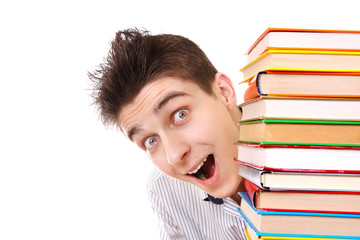 Cheerful Student behind the Books