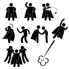 Superhero Hero Stick Figure Pictogram Icon