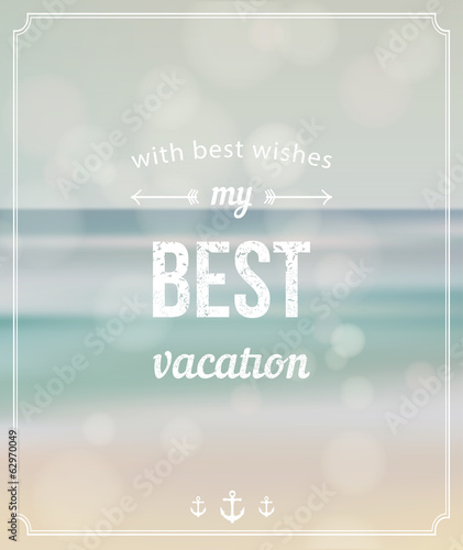 Summer background. Best vacation retro style postcard