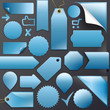 Vector Set blue labels+Buttons+Ribbons