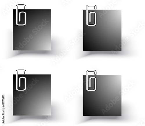 Silhouette office paper notepad on the wall icon set (vector)