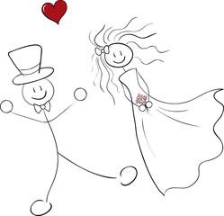 Brautpaar Strichmännchen
