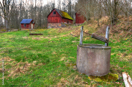 Old Swedish farm in spring season