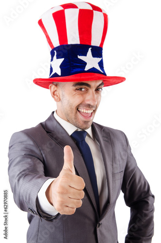 Man with his thumbs up on white