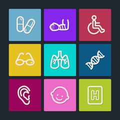 Medicine web icons set 2, color buttons