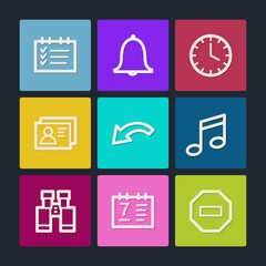 Organizer web icons, color buttons