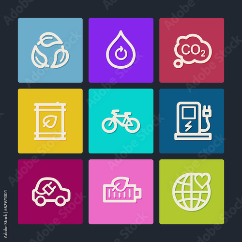 Ecology web icons set 4, color buttons