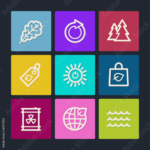 Ecology web icons set 3, color buttons