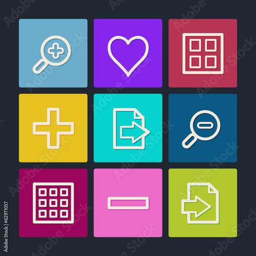 Image viewer web icons set 1, color buttons
