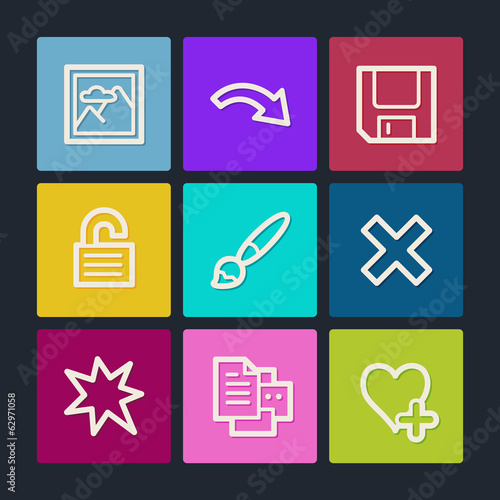 Image viewer web icons set 2, color buttons