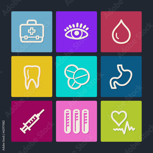 Medicine web icons set 1, color buttons