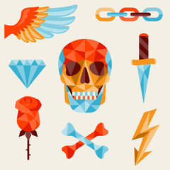 Skull and elements with colored geometric design.