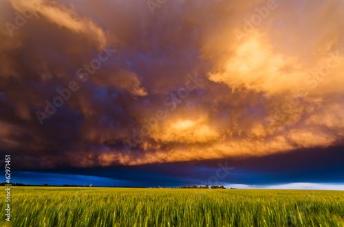 Leinwanddruck Bild Stormy sunset in the plains