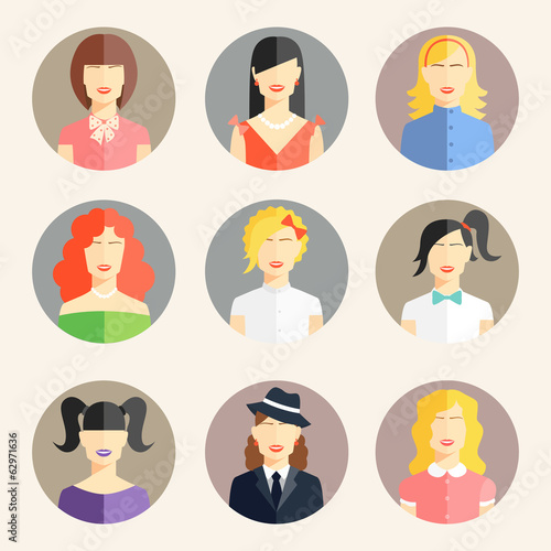 women avatars in flat style