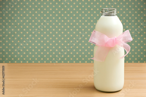 Glass jar of milk