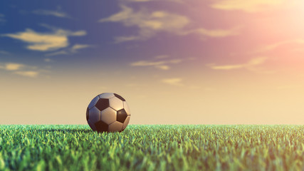 Soccer field and ball , daylight