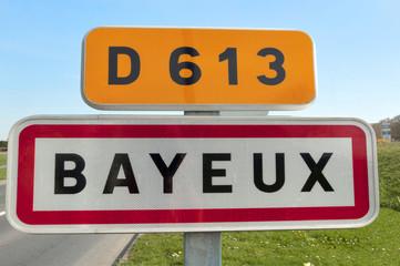 France, Bayeux - Panneau de commune