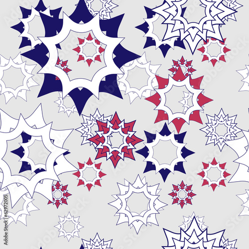Vector abstract floral design with stylized blue and red stars