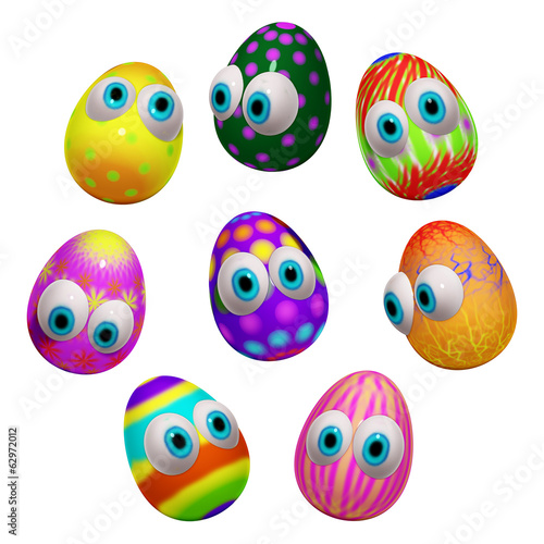 Set of Easter Eggs Cartoon 3d