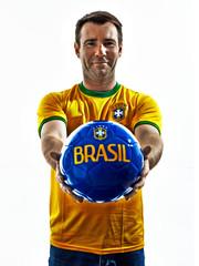 caucasian man brazilian brazil giving soccer ball