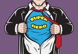 Disguised hidden comic superhero businessman