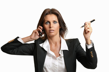 Beautiful business woman busy at work