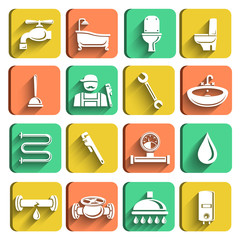 Plumbing Tools Icons Set