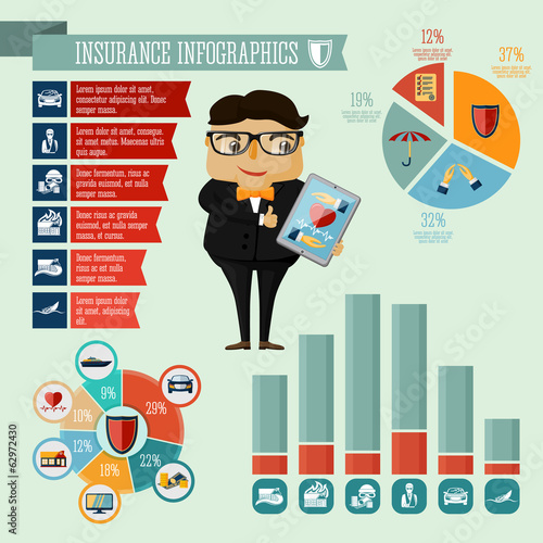 Insurance company agent infographics design
