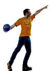 caucasian man brazilian brazil throwing soccer ball