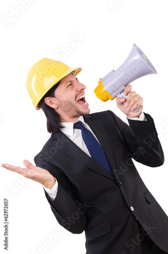 Man with helmet and loudspeaker on white