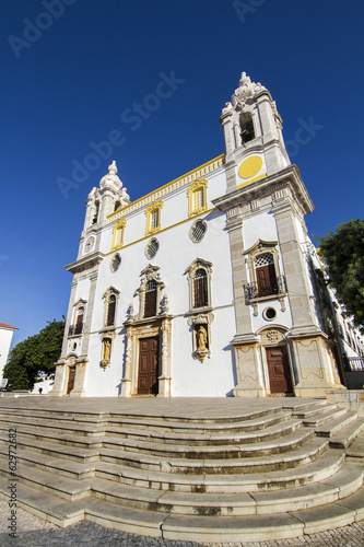 View of the beautiful church of Carmo located in Faro, Portugal.