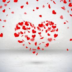 Raum mit Herzkonfetti in Herzform