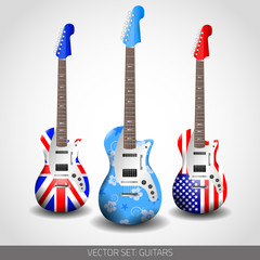 Set of Vector Guitars
