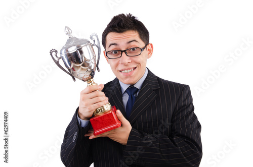 Funny guy receiving award on white