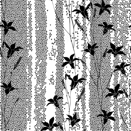 Seamless monochrome vector pattern from bellflowers