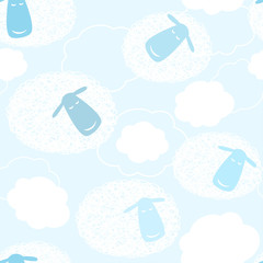 Blue sky with cartoon clouds, seamless pattern
