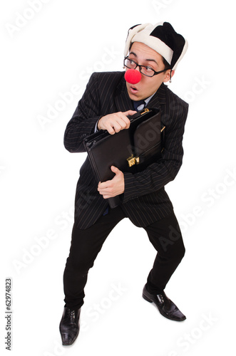 Clown businessman isolated on white